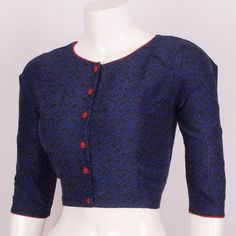 Hand Block Printed Cotton Blouse With Full Sleeve 10015048 - size 36 - AVISHYA.COM
