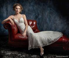 kenneth winston fall 2017 bridal sleeveless thin strap v neck full embellishment elegant sheath wedding dress open scoop back sweep train (48) mv