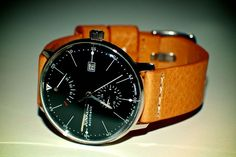 Junkers Bauhaus automatic watch with Meyhofer leather strap