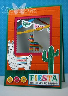 handmade Fiesta card by Nicole Wilson ...  bright and cheerful  ... open window with a burro piñata hanging down ... luv it! ... Stampin' Up!