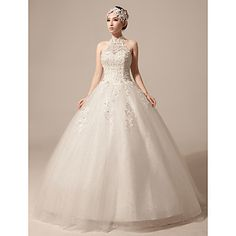 Ball+Gown+Wedding+Dress+-+Ivory+Floor-length+High+Neck+Lace/Tulle+–+USD+$+85.49