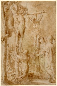 Christ crucified with the two thieves, illustration to the 'Breviarium Romanum' and 'Missale Romanum' of 1614; Mary Magdalene kneeling and touching Christ's feet, the Virgin and St John and another figure standing to r, with two Roman soldiers behind the crosses. c.1614 Pen and brown ink, with brown wash, over graphite