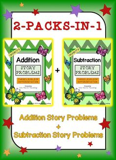 This 90-paged insect-themed ADDITION AND SUBTRACTION STORY PROBLEM pack is differentiated (three levels) to challenge and engage your students -- whatever their ability level. Simply print the sheets, assemble them in booklets and start using immediately! It makes math centers fun, morning work a breeze and lesson preparation easy!