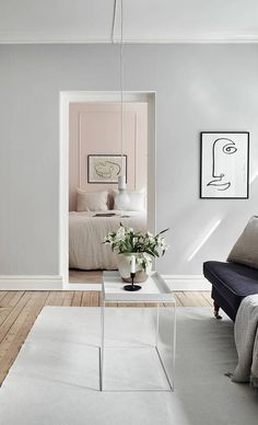 A powder bedroom peeking through - via Coco Lapine Design blog