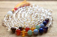 SALE  Chakra Balancing Mala Necklace  Healing Crystals to