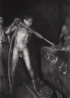 In the «Martin-Hoop» mine, 1200 meters beneath the surface. Zwikau, Germany (DDR), 1952, by Gerhard Kiesling