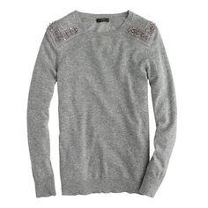 J. Crew - Jeweled Shoulder Sweater