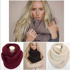 "NWT Oversized Knit Infinity Scarf NWT Oversized Knit Infinity Scarf, available in 4 colors: Mocha, Black, Burgundy, and Cream. The softest knit with an oversized style, this will be your coziest scarf this season! Soft Polyester. Double layer infinity scarf, width is approx 20"", Length is 72"". No Trades and No Paypal⭐️PLEASE DO NOT PURCHASE THIS LISTING, COMMENT AND I WILL MAKE A NEW LISTING FOR PURCHASE⭐️ last picture is mocha Accessories Scarves & Wraps"