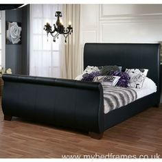 black upholstered sleigh bed. Baxton Studio Ashenhurst Black Modern Sleigh Bed With Upholstered Headboard - Full Size | Pinterest Beds, Queen And L