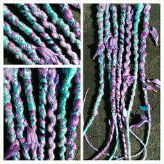 Light indigo 7 multi wrapped dreads in baby blue, sky blue, pink, lavender and lilac silver beads, leaf beads on Etsy, $26.00