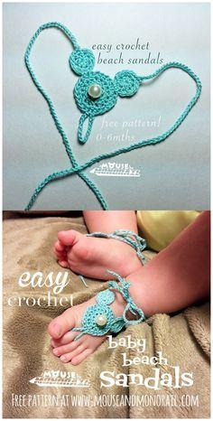Baby Mickey Ears Beach Sandals Free Crochet Pattern