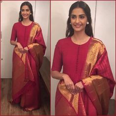 Give a fashionable spin to your unused/old sarees and convert them to pretty dresses. Here are 10 trendy salwar suits you can make from sarees. Kurta Designs, Dress Designs, Sonam Kapoor, Indian Attire, Indian Wear, Indian Style, Indian Ethnic, Indian Girls, India Fashion