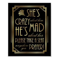 Wedding Gifts Diy Gatsby Art Deco WEDDING SEAT Sign Print - roaring wedding gifts party ideas - Great for use in planning Roaring 20s Wedding, Great Gatsby Wedding, Dream Wedding, Gatsby Party, 1920s Wedding, Gatsby Wedding Decorations, Perfect Wedding, Prohibition Wedding, Speakeasy Party