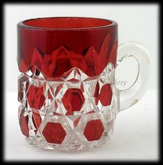 EAPG Red Block Bevelled Buttons Ruby Stained Mug C 1886 Doyle U s Glass | eBay