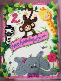 Jungle cake Jungle Birthday Cakes, Birthday Sheet Cakes, Jungle Cake, 2nd Birthday, Birthday Ideas, Birthday Parties, Fancy Cakes, Cute Cakes, Zoo Animal Cakes