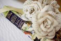 Stephanie and Francis' Alice in Wonderland 45 Guest Wedding. Paper flowers made by the bride from an old Alice in Wonderland book. Marie-Michele Hayeur Photography. #diy #paperflowers #realwedding #aliceinwonderland