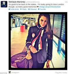 Welcome Back: Gymnast McKayla Maroney has been sharing pictures of her return to the U.S. from London. Here she walks through the terminal after arriving back in New York City.  2012 Olympics.