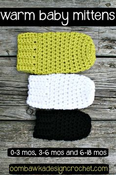 Crochet Baby Mittens Warm Baby Mittens - This post includes my Warm Baby Mittens Pattern. This free crochet pattern includes 3 different sizes and is perfect for our cold winter weather. Warm Baby Mittens Pattern for MyaSupplies Yarn: . Crochet Baby Mittens, Crochet Baby Blanket Beginner, Crochet Baby Clothes, Crochet Gloves, Baby Knitting, Booties Crochet, Knit Hats, Toddler Mittens, Crochet Beanie