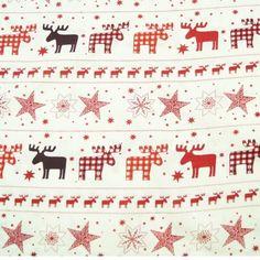100/% Cotton Fabric John Louden Christmas Scandinavian Mini Birds
