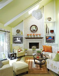 Painted Ceilings Ideas: Green Ceiling Living Room #paintedceilings #livingrooms #cottagestyle #coastalstyle #green http://thedistinctivecottage.com