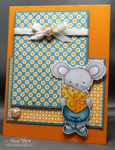 Card by Debra Miller. Digital stamp by : Whimsy and Stars Studio, Mabelle RO. Stamp: Lucy's Cheese