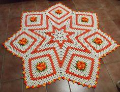 tapetes de barbante de estrela laranja