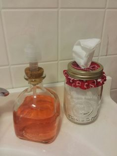 My DIY Patron soap dispenser  and mason jar tissue holder. ..turned out good