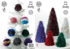This King Cole Tinsel Chunky knitting pattern leaflet 9035 will instruct you how to create festive christmas decorations: christmas trees in a variety of sizes and baubles in a variety of designs! Tinsel Christmas Tree, Large Christmas Tree, Tinsel Tree, Christmas Stuff, Chunky Knitting Patterns, Free Knitting, Crochet Patterns, Xmas Crafts, Christmas Projects