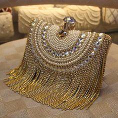 New Women Diamond Wedding bride Shoulder Crossbody Bags Gold Clutch Beaded  Tassel Evening Bags Party Purse banquet Handbags 73031f43816a