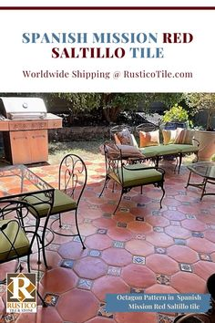 Yes! Spanish Mission Red tile can be installed in most outdoor climates as long as it's installed properly (& with the correct tile setting installation materials). This outdoor patio features the Octagon pattern in Saltillo tile flooring. Saltillo is a form of durable terracotta floor tile that's handmade in Mexico. As a 2-tile pattern, it pairs beautifully with painted Talavera accent tiles. Get #mexicantile shipped to you from the pros as RusticoTile.com for wholesale-direct prices. Terracotta Floor, Red Tiles, Spanish Tile, Architectural Features, Southwest Style, Outdoor, Outdoors, Spanish Tile Floors, Outdoor Games