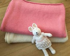 Pink Baby Wool blanket throws Set of 2  by TheMoonKidsBoutique
