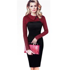 Vintage Long Sleeve Women Dress Patchwork Office Plaid Pattern Plus Size Bodycon Dresses Pencil Elegant Ladies Clothing B238 -- Click on the image for additional details.