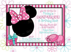 Minnie Mouse Inspired Birthday Invitation and thank you note - Minnie's Bowtique Birthday Party