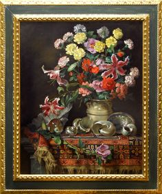 Joseph Sheppard  Still-Life with Rug   Oil - 40 by 32 Inches  $25,000 www.trailsidegalleries.com #paintings #still-life #art #floral