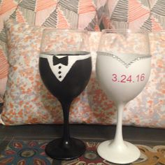 These are hand-painted Bride and Groom wine glasses that come as a set for this price or you can buy them separate at $10 a piece. Please choose