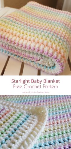 Crochet Afghans, Crochet Baby Blanket Free Pattern, Crochet Baby Blanket Patterns, Tunisian Baby Blanket, Easy Baby Knitting Patterns, Knitting Tutorials, Crochet Granny, Crochet Bebe, Free Crochet
