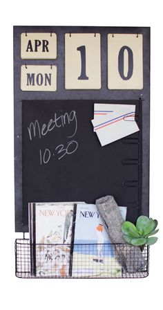Charmingly designed, this Chalkboard Wall Organizer will make the perfect addition to a quaint home office, craft room, kitchen, or entryway. This wall organizer features a chalkboard with built-in not...  Find the Chalkboard Wall Organizer, as seen in the Industrial Chic Collection at http://dotandbo.com/collections/industrial-chic?utm_source=pinterest&utm_medium=organic&db_sku=113779