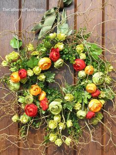 Perfect wreath for Spring, using  Spring Flowers and Curly Willow!  Good Job by The Gathering Place!