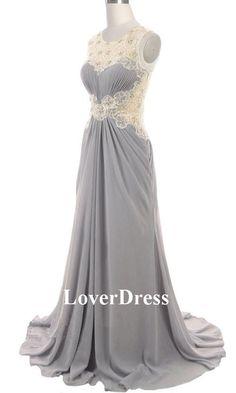 Gray Prom Dress Lace Back Long Dress Lace Prom by LoverDress, $160.00