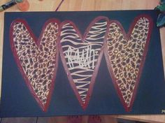 Three Hearts  Leopard/Zebra Print Painting by AimerLaVieDesigns,