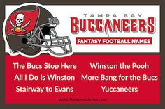 These Buccaneers fantasy football names include selections for Jameis Winston, Mike Evans, and Peyton Barber. Fantasy Football Draft Sheet, Cool Fantasy Football Names, Fantasy League Names, Fantasy Football League, Nfc East Teams, 32 Nfl Teams, Football Team Names, Mike Evans, Feel Good Stories
