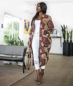 The Nimi African print Ankara Kimono jacket coat dress L'africain impression Ankara kimono robe de M African Inspired Fashion, African Print Fashion, Africa Fashion, Ethnic Fashion, Fashion Prints, African Print Dresses, African Fashion Dresses, African Dress, Ankara Fashion