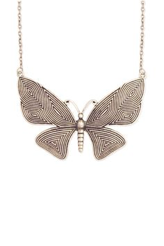 Large Silver Metal Butterfly Necklace