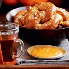 Cheese and Mustard Dipping Sauce - Hot Soft Pretzels - Country Living Appetizer Dips, Appetizer Recipes, Dessert Recipes, Soft Pretzels, Halloween Desserts, Delish, Yummy Yummy, Beer Cheese, Easy Cheese