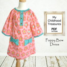 Childrens sewing pattern PDF, Girls dress pattern, Kids Toddler, baby sewing pattern, Instant Download, Girls Peasant Dress, Poppy Bow Dress