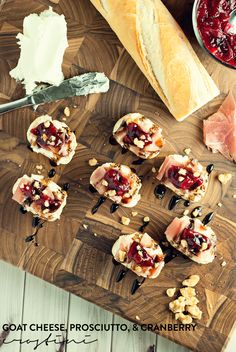 Have a great appetizer this holiday season with these goat cheese, prosciutto, and cranberry crostini! Easy to make and delicious too, they are a sure win!