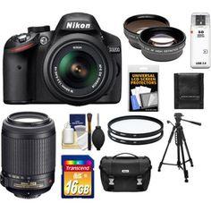 Nikon - D3200 Camera+18-55 G VR DX AF-S Lens +55-200 VR Lens+16GB+Case+Filters+Tripod+Telephoto+Lens Kit - Larger Front