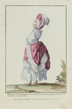 Jeune dame coiffée d'un bonnet rond avec un fichu en marmotte, un ruban en rosette, une polonaise et un mantelet blanc. - Gallerie des Modes - Museum of Fine Arts, Boston