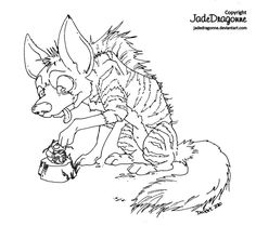 Aardwolf - Lines by JadeDragonne on DeviantArt Coloring Sheets, Adult Coloring, Coloring Pages, Jade Dragon, Art Pages, Hama Beads, Line Art, Mythology, Favorite Color