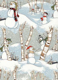 Weihnachtsstoffe - Schneemänner Weihnachtsstoff Nr. 120923 - ein Designerstück von rbaudisch bei DaWanda